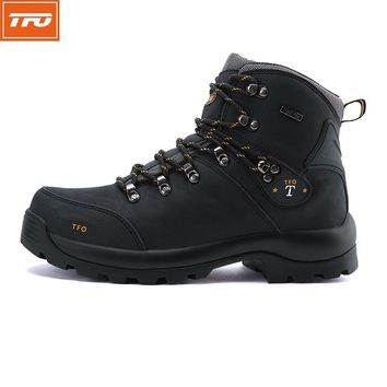 TFO Women Hiking Shoes Waterproof Boots Climbing Mountain Shoes Woman Winter Black Genuine Leather Women's Boot