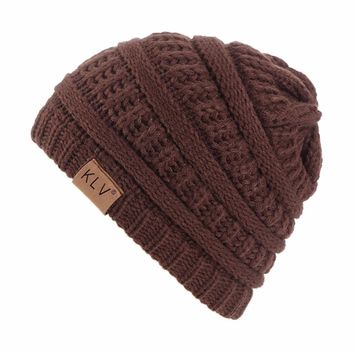KLV New Arrival Boy Girls Beautiful And Cute  Warm Crochet Winter Wool Knit Ski Beanie Skull Slouchy Caps Hat Solid Color