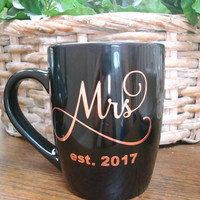 Mrs Bridal Cup, Mrs Mug, Wedding Bridal Cup, Copper Metallic Wedding Cup, Wedding Cup, Mrs, Wedding Decor, Engagement, Wedding Mug