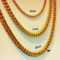 """18""""-30"""" Men's Stainless Steel 4mm-8mm 24K Gold Plated Cuban Link Chain Necklace"""