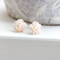 Tiny Rose Stud Earrings Ivory Cream Studs Little Flower Irridescent Shimmer Surgical Steel Posts Nickel Free Gift for Girlfriend, Women