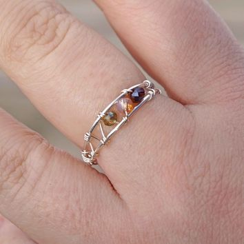 Amber Glass Wire Wrapped Ring Aromatherapy Ring Jewelry