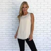 Back To The Beginning Cowl Back Cream Blouse
