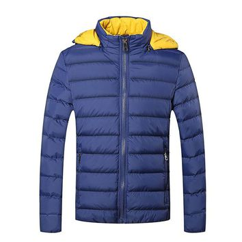 Winter Jackets Mens New Stylish Slim Fit Quilted Long Sleeve Cotton-Padded Casual Solid Thick Hooded Parkas Size M-5XL