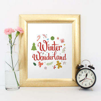 Christmas printable wall art quote, Winter Wonderland, Digital print, calligraphy print, xmas gift ideas, festive holiday decor