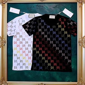charmvip - GUCCI cotton T-shirt with crystals GG