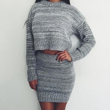 Sweater Stylish Set Crop Top Sexy Skirt Knit Bottom & Top [11275920583]