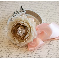 Peonies Champagne Floral Dog Collar, Bohemian Spring wedding, Champagne and Blush