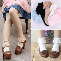 ONETOW Sweet Cute Women Girls Princess Vintage Cotton Lace Ruffle Frilly Floral Ankle Socks