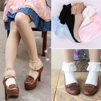 DCCKL3Z Sweet Cute Women Girls Princess Vintage Cotton Lace Ruffle Frilly Floral Ankle Socks