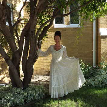 Ivory Wedding Dress Vintage Gunne Sax Floral 70s Victorian Prairie Lace Full 11 S