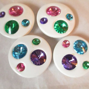 Bright White Lucite and Faux Jewels Rhinestone Button Covers Accessories Jazzy
