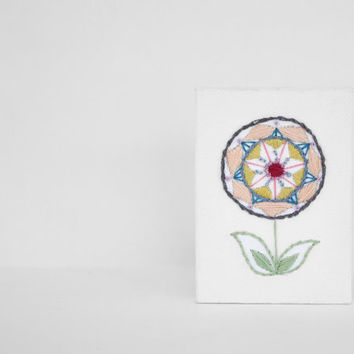 Embroidered Abstract Flower in Rectangle Stretched Canvas in Blue, Mustard, Pink and Raspberry - Embroidered Art for the Home