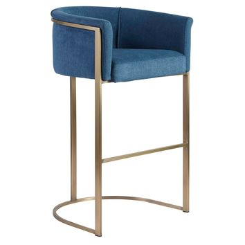Marrisa-B Bar Stool in Blue Fabric with Light Brass Base