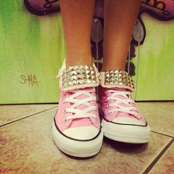 custom studded light pink converse all star high tops chuck taylors all sizes col