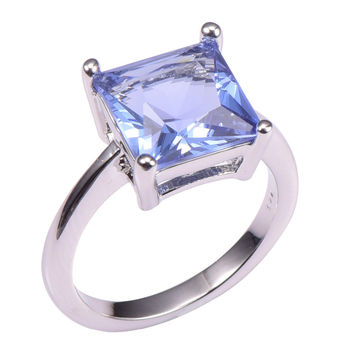 Size 7 Classic Style Tanzanite 925 Sterling  Wedding Party Fashion Design Romantic Ring Size 5 6 7 8 9 10 11 12 PR40