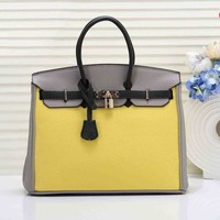 Hermes Fashionable Women Shopping Bag Leather Handbag Tote Shoulder Bag 6# Yellow