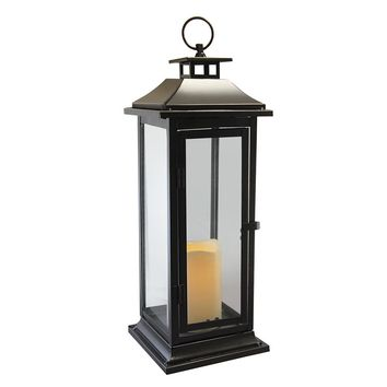 Metal Lantern with Flickering Battery Operated LED Candle- Black Traditional