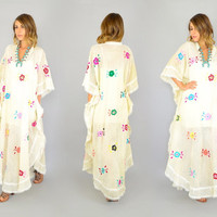 Ooak 70's EMBROIDERED Floral see-through PINTUCK hippie boho goddess Angel Wing romantic resort KAFTAN, one size fits all