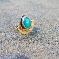 Half Moon Bay Ring // Brass and Sterling Silver