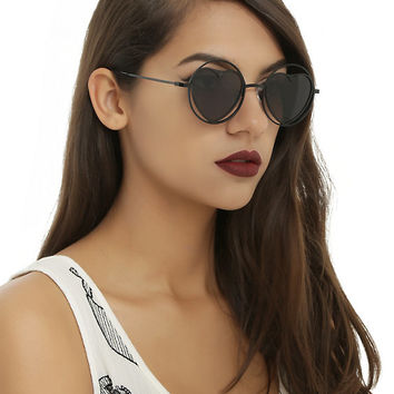 Black Heart Cutout Round Sunglasses