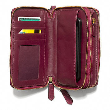MADISON DOUBLE ZIP PHONE WALLET IN CROC EMBOSSED LEATHER