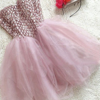 Cheap Ball gown Short Mini Strapless Pink Prom Dress, Homecoming Dress, Cocktail Dresses