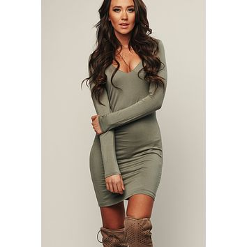 Look Back Bodycon (Olive)