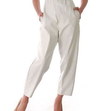 Vintage White Leather Pants Womens Saks Fifth Ave Large