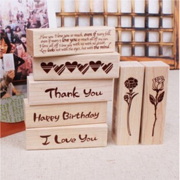 DIY Cute Kawaii Cat House Stamp Wood I Love You Thank You Eose Stamps for Decoration Scrapbooking Stationery Free shipping 10004