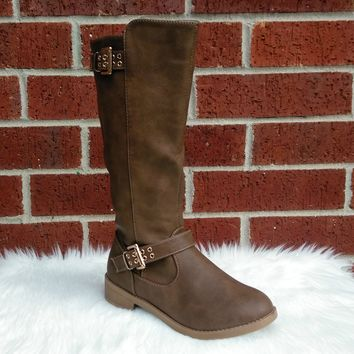 Girl's Khaki Tall Boot with Buckles Detail