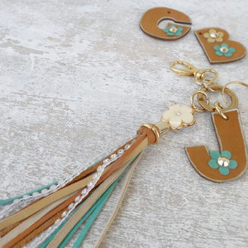 Monogram keychain, leather tassel keychain, leather initial keyring, personalized key fob, initial key fob