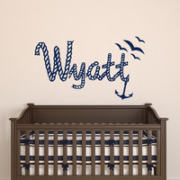 Boy Name Wall Decals Personalized Decal Kids Nursery Nautical Sea Anchor Vinyl Stickers Home Bedroom Decor T66