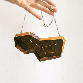 Wooden Constellation Necklace Big Dipper, statement geometric asymmetric necklace, brown