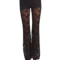 Girly Lace Flare Pants | Wet Seal