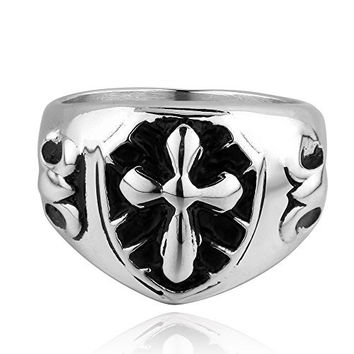 Scheppend Men's Guardian Knight Templar 316L Steel Rings Cross Cool Individual Hand Jewelry Size 8
