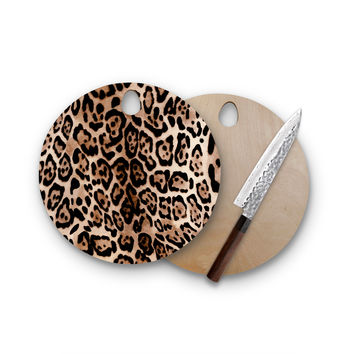 Cheetah Print Love Round Cutting Board Trendy Unique Home Decor Cheese Board