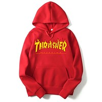 Men/Women sportswear Thrasher hoodie flame skateboard dead fly west hip-hop harajuku hooded fleece Thrasher THRASHER sweatshirt Red