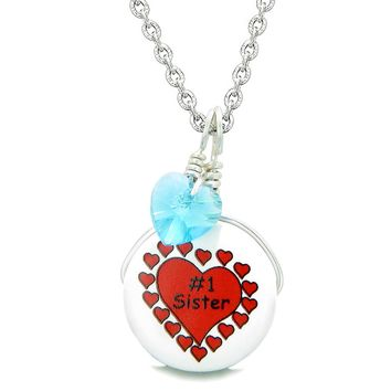 Handcrafted Cute Ceramic Lucky Charm Number One Sister Sky Blue Heart Amulet Pendant 22 Inch Necklace