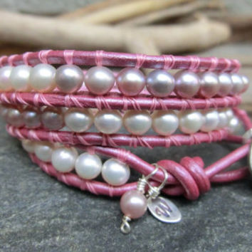 Pink Pearls Handmade Triple Leather Wrap Bracelet - Genuine Freshwater Pearls