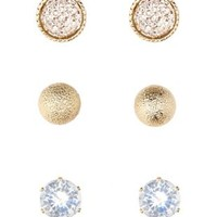 Rhinestone & Ball Stud Earrings - 3 Pack by Charlotte Russe - Gold