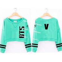 ALLKPOPER Kpop BTS Young Forever Mint Green Cropped Women Sweatershirt Fans Jung Kook Letter Print Tracksuits Hot Sale JIN