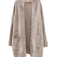 Khaki Knit Cardigan With Pockets
