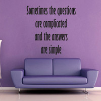 Complicated Questions Simple Answers - Dr Suess - Wall Vinyl - Medium