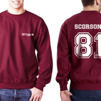 Scorsone 81 White Ink on Back Greys Anatomy Logo Pocket on Front Unisex Crewneck Sweatshirt