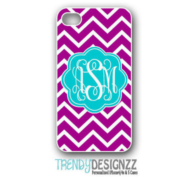 Personalized iPhone case, Purple Chevron Blue Monogram, iPhone 4 case, iPhone 5 case, Cover, Personalized Phone Case (1148)