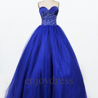Custom Royal Blue Long Beaded Tulle Prom Dresses Fashion Evening Gown Wedding Party Dress Party Dress Formal Evening Dresses Cocktail Dress