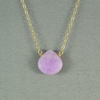 Beautiful Lavender(pink) Jade Heart Necklace, Natural Stone Bead, 14K Gold Filled Chain, also in Sterling Silver