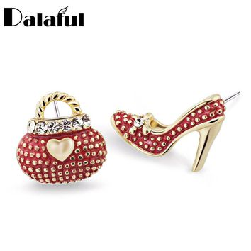 Asymmetric High Heel Shoe Bag Stud Earrings for Women Crystal Rhinestone Lady Girls Earrings 3 Colors E439