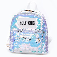 HOLY CHIC SEQUIN BACKPACK - White